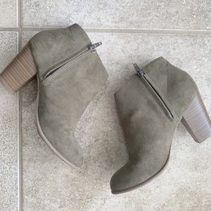 Old Navy Olive Green Faux Suede ankle Booties